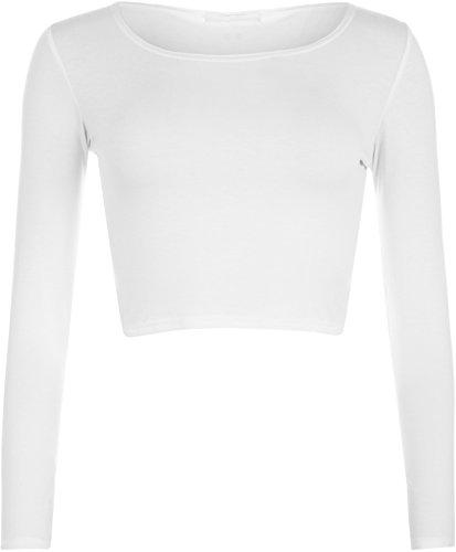 WearAll - Damen Cropped Langarm T Shirt Kurz Schmucklos Rundhalsausschnitt Top - Weiß - 36/38 -