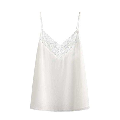 OverDose Damen Beat Chiffon Vest Top Sleeveless Casual Tank Blouse Summer Tops T-Shirt Spitze Weste Sommer Blusen (S, C-Z-Weiß)