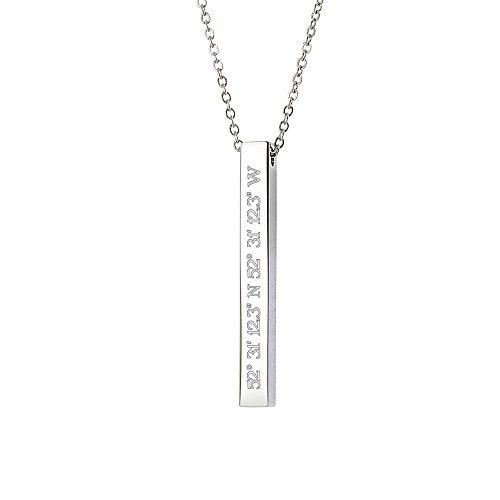 Gravado Halskette aus Edelstahl mit Stabanhänger - Personalisiert mit Geokoordinaten - Damen Schmuck - inkl. Geschenkbox - Länge 50 cm - Mit Gravur Halskette