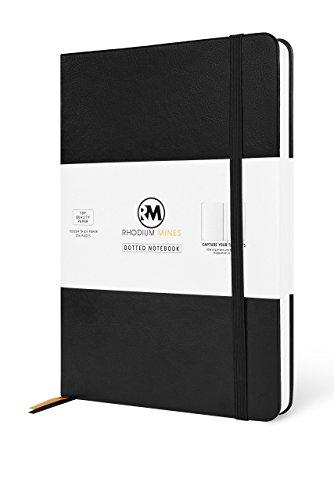 Rhodium Minen Dotted A5Tagebuch Notizbuch, Dot Grid 206Seiten, Hardcover, Premium PU-Leder, 100gsm Diary DOTTED Schwarz (Grid-ziel)
