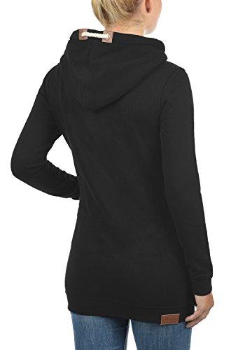 DESIRES Vicky Hood-Long Damen Kapuzenpullover Lang Hoodie Sweatshirt Sweat-Kleid mit Kapuze und optionalem Teddy-Futter aus hochwertiger Baumwollmischung Black mit Teddy-Futter