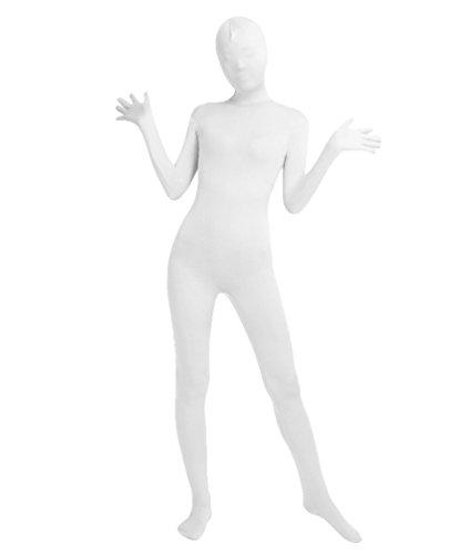 nd Kind Bodysuit Kostüm Zentai Ganzkörperanzug Kostüm Lange Ärmel Bodysuit Kostüm Weiß L ()