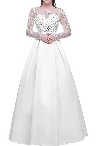 Gorgeous Bride Fashion Lang Ärmel A-Linie Satin Spitze Abendkleider Lang Cocktailkleider Ballkleider Weiß