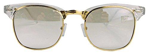 Nerd Brille Frames (50er Jahre Retro Nerd Brille Halbrahmen Hornbrille Clubmaster Stil Rockabilly Streberbrille (Transparent /)