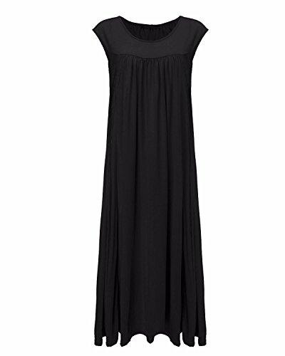ZANZEA Femme Coton Col Rond Sans Manches Casual Lâce Large Longue Maxi Robe Tunique de Plage Cocktail Noir