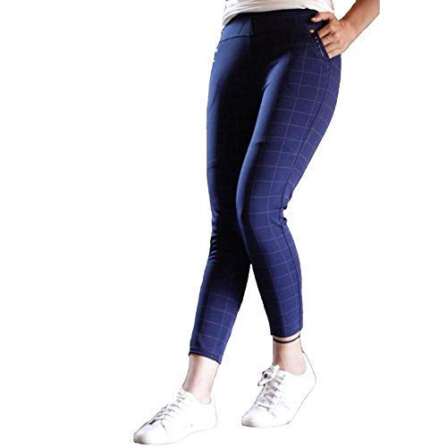Lava Creation Women's Cotton Lycra Chex Printed Jeggings (Free Size_ Waste Size-26 Up to 36) Blue