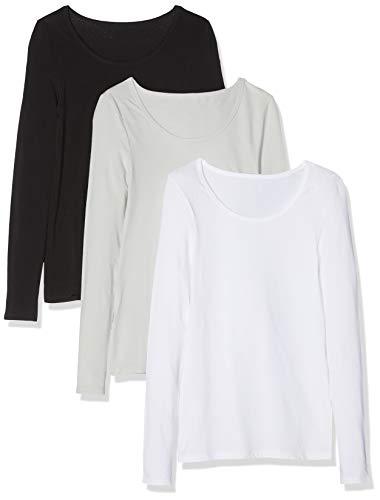 Maglev Essentials Bdx011m3 Shirt Damen, Mehrfarbig (Black, White, Grey Violet), 38 (Herstellergröße: Medium), 3er-Pack