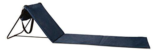 Premium Strandmatte mit Tragegurt | Gepolstert | mit verstellbarer Kopflehne | Kopstütze | Rückenlehne | 161 x 42 x 44,5 cm | Dunkelblau