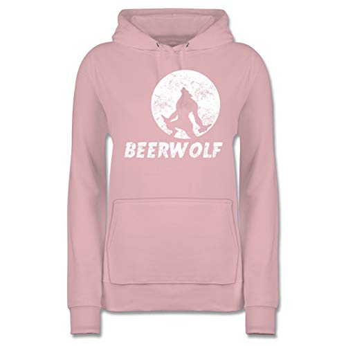 Statement Shirts - Beerwolf - XXL - Hellrosa - JH001F - Damen Hoodie