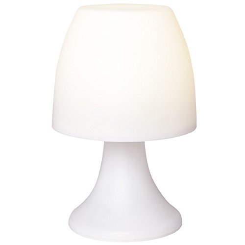 Lámpara LED con temporizador, color blanco, 19cm de altura, funciona con pilas | lámpara de noche lámpara de mesa, para el dormitorio | camping Lámpara