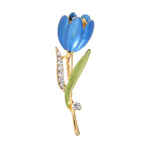 Domybest Tulip Blume Brosche Kristall Strass Damen Modeschmuck (Aqua Blue) -