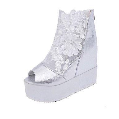 LvYuan Da donna-Sandali-Formale Casual-Comoda-Plateau-PU (Poliuretano)-Nero Bianco Argento White