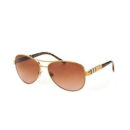 burberry-unisex-sonnenbrille-be3080-gr-large-herstellergrosse-59-gold-gestell-hellgold-glaser-braun-