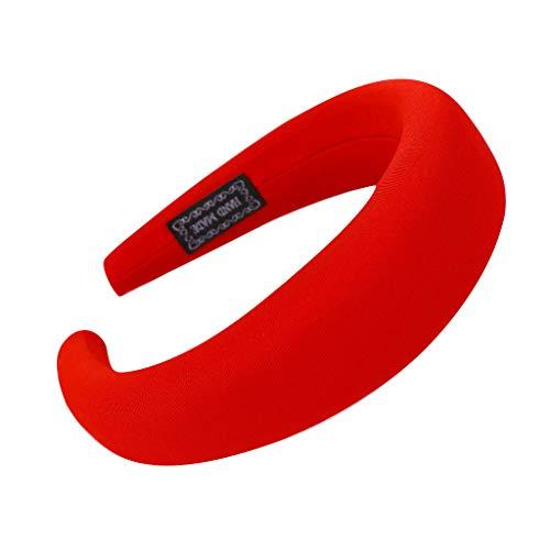 YWLINK Mode Haarreif Schwamm Sport Haarband Volltonfarbe Damen Haar Kopfband Einfache SüßE MäDchen Stirnband(Rot)