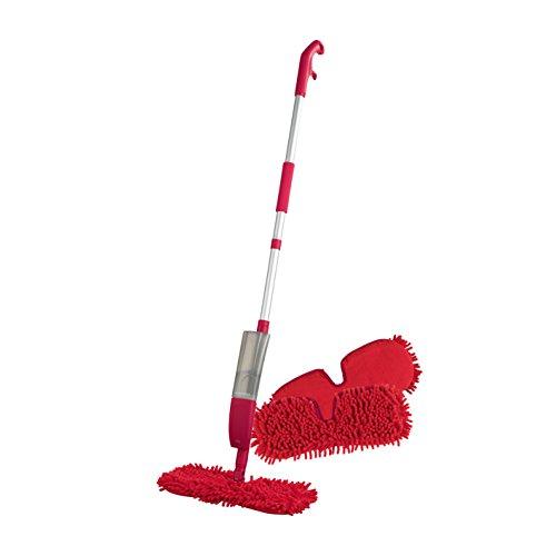 CLEANmaxx Spray-Mopp Flexibel Rot (Praktischer Wende-Mopp zur Nass- und Trockenreinigung) (Spray-Mopp + 2 Ersatztücher)