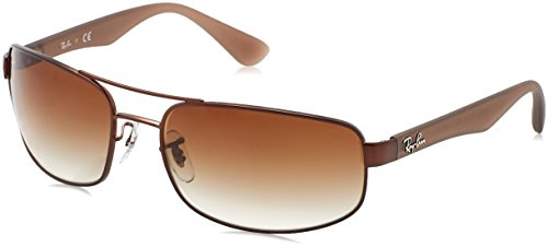 RAYBAN JUNIOR Herren Sonnenbrille RB3445, Matte Brown/Browngradient, 61