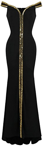 Ausschnitt Sweep (Angel-fashions Damen Aus der Schulter V-Ausschnitt Bodenl?nge Schwarz Formales Kleid XLarge)