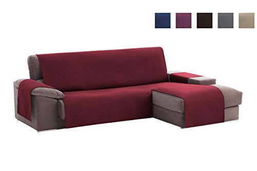 Textilhome - Copridivano Salvadivano Chaise Longe Adele - Color Rosso -BRACCIOLO Destro - Protezione per divani Imbottiti - Dimencione 240cm -(Visto di Fronte).