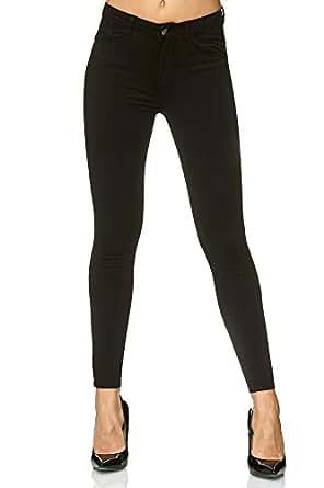 Elara Damen High Waist Hose | Push Up Jeans | Skinny | Elastischer Bund | Slim Fit | Chunkyrayan YF002-1 Black 42