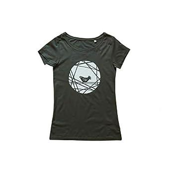 Vogel, Bio Fairtrade T-Shirt Frauen. Siebdruck