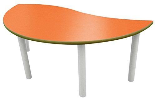 Mobeduc pour Enfant Demi-Ronde Wave Table, Bois, Orange, Taille 1, 120 x 60 x 46 cm