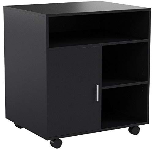 FITUEYES Büro Schrank Multifunktionswagen Drucker Ständer aus Holz 60x50x66cm schwarz PS406001WB
