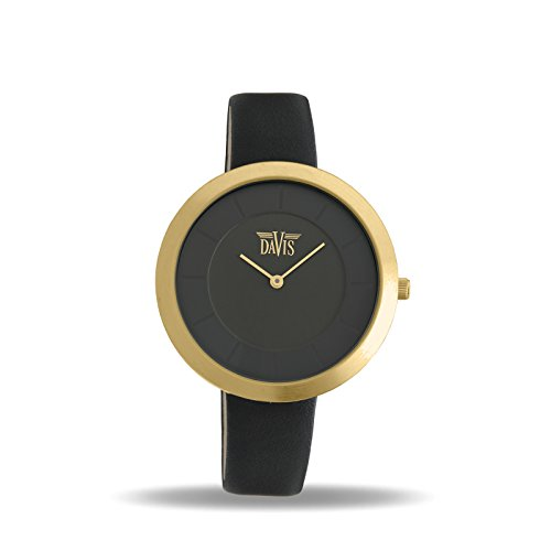 Davis 2038 - Womens Design Watch Yellow Gold Case Ultra Thin Black Dial Black Leather Strap