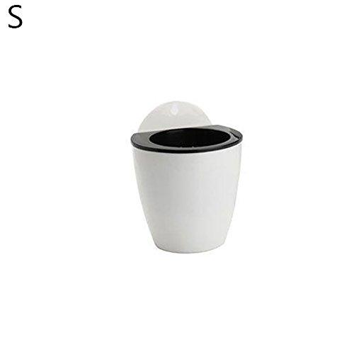 Quanjucheer Pot de fleurs à suspendre au mur Auto Absorber l'eau Pot de fleurs jardin bonsaï Décor, Plastique, Blanc/noir, Taille S