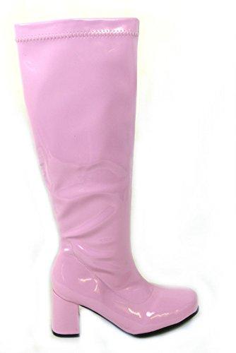 Damen Faschingstiefel GO GO 1960er & 70er Jahre Retro Größen 3-12, Pink - Rose - Größe: 40 EU (1970er Jahren Kleidung Für Frauen)