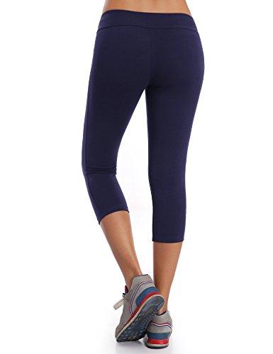 WingsLove Damen Capris Yoga Sporthose Laufenhose 3/4 Leggings Training Sport Strumpfhosen Marine Blau