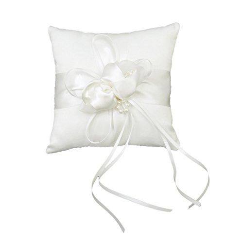 SupplyEU Schöne Ringkissen 15cmx15cm Vintage Blume Schnalle mit Satinband für Hochzeit Weiß -