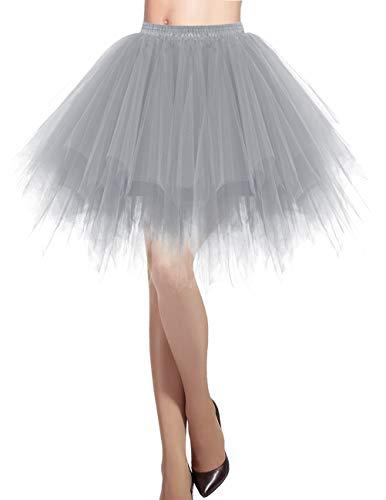 Petticoats Kostüm - Dresstells Damen Tüllrock 50er Rockabilly Petticoat Tutu Unterrock Kurz Ballett Tanzkleid Ballkleid Abendkleid Gelegenheit Zubehör Grey M