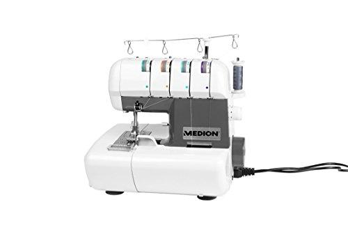 MEDION MD 16600 Overlock Nähmaschine / 90 Watt Leistung/Nähleistung von 1300 RPM/weiß