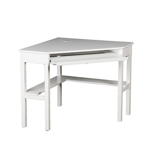 Top Southern Enterprises Home Office Corner Computer Desk with Retractable Keyboard, Chic White Review