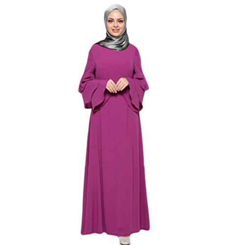 Oyedens Muslim Abaya Frauen Muslimische Kleid Kimono Islamische Kleidung islamischen Langen Mantel Nahost langes Gewand Damen Embroidery Ramadan Dress Robe Große Größe (XL, Violett)