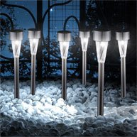 Globo LED Edelstahl/Kunststoff Solar Outdoor Garten Lampen, Set von 6
