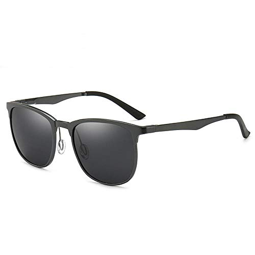 ilestunangel Aluminium-Magnesium polarisierte Sonnenbrille leichte Federbeine Sonnenbrille Herren eckige Brille, Gun Frame schwarz grau Stück fahren