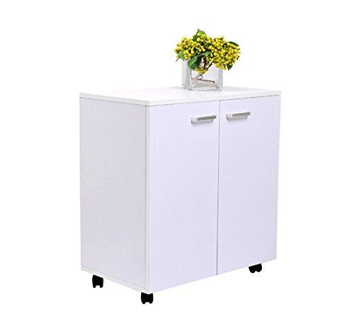 Homcom - Mesa armario móvil mueble tv de madera con ruedas y 2 puertas consola cajonera