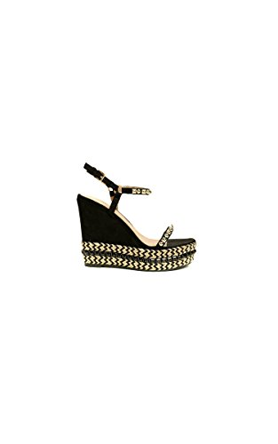 e59c5afa930d67 Ikrush Women s Alaia Studded Braided Strap Wedges Size in Black Size 8