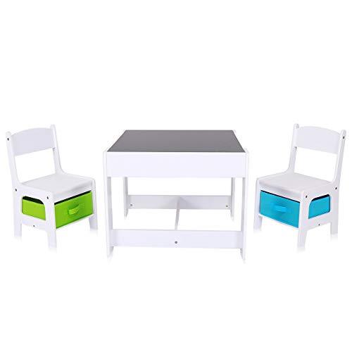Baby Vivo Kindersitzgruppe Kindertischgruppe Kindermöbel Kinderzimmer Set mit multifunktionalem Tisch und 2 Stühlen aus Holz - Max