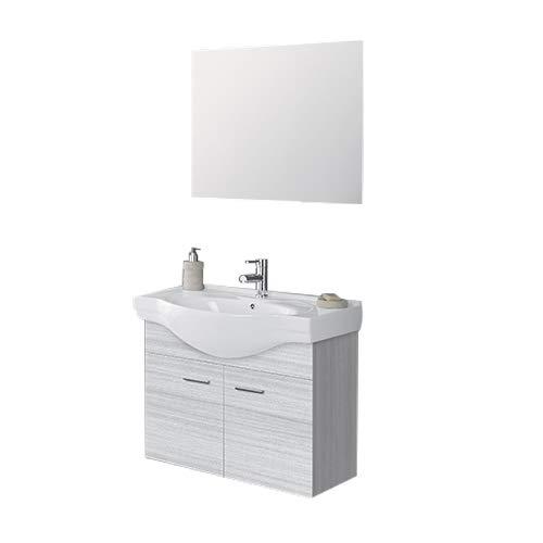 Arredo per bagno sospeso 80 x 46 con 2 ante colore grigio completo di lavabo in ceramica e specchiera senza cornice