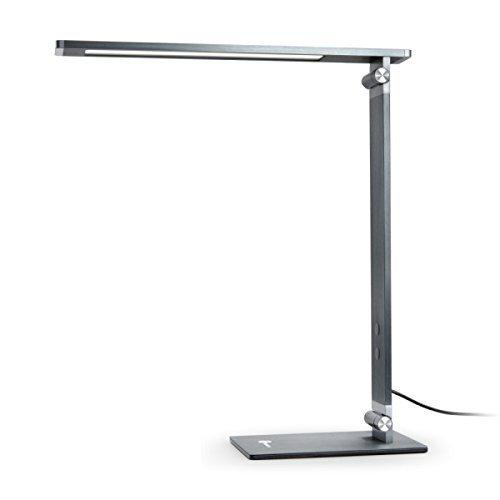 TaoTronics 10W Schreibtischlampe LED 100% Metall Tageslichtlampe aus gebürstetem Aluminium, Stabil und Haltbar, Touch-Control, 4 Lichtmodi und 4 Helligkeitsstufen, 6000K/5000K/4000K/3000K, klappbarer Arm, flackerfrei, Grau-Schwarz