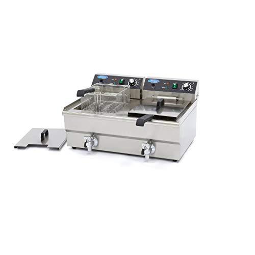 Elektrisch Fritteuse 2 x 16L mit Wasserhahn