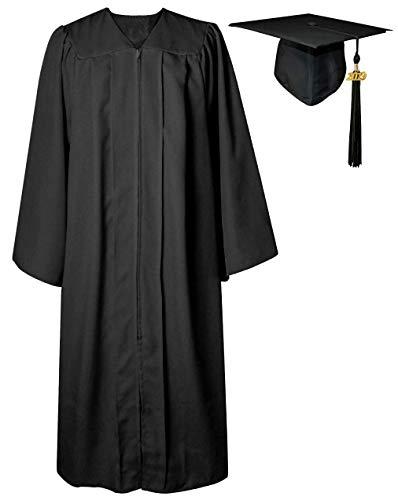 GGS Akademischer Talar Doktorhut und Quaste Schule abschließen Uni Diplom Abschluss und Abschlussfeier 12 Farbe,Schwarz -
