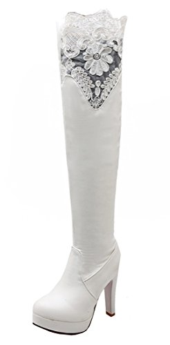 YE Damen Spitze High Heels Plateau Overknee Stretch Kniehohe Langschaftstiefel mit Roter Sohle Boots Weiß