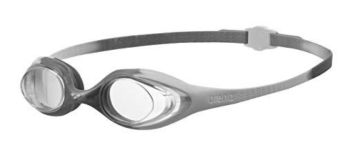 arena Kinder Unisex Training Wettkampf Schwimmbrille Spider Junior (UV-Schutz, Anti-Fog, Harte Gläser), White-Clear-Silver (12), One Size