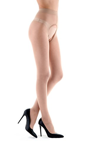 Miss O - Glänzende Ouvert Strumpfhose mit Rücknaht, Schrittoffen (L/XL, Beige)