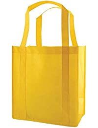(Set Of 25) Heavy Duty Grocery Shopping Tote Bag W/Strong Reinforced Handles (YELLOW)