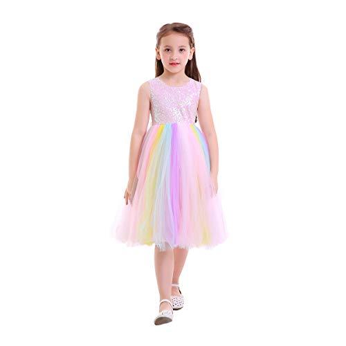 OBEEII Kinder Sommer Einhorn Tutu Kleid für Mädchen Stickerei Blume Ballkleid Baby Party Pailletten 4-5 Jahre (Schickes Blumen-mädchen-kleider Sehr)