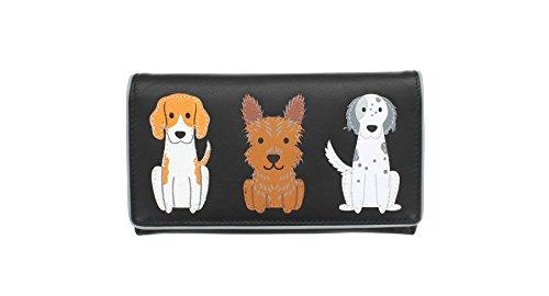 Mala Leather Collezione BEST FRIENDS Borsetta con Cani in Pelle 3310_65 Nero Nero